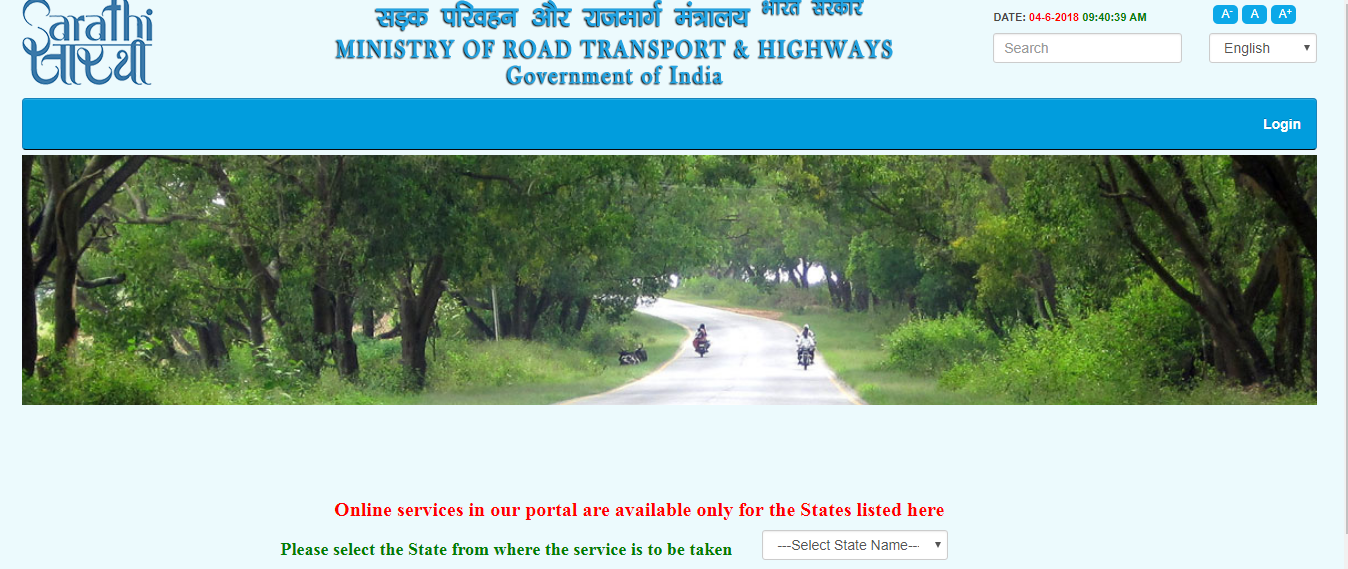 website of driving licence in india