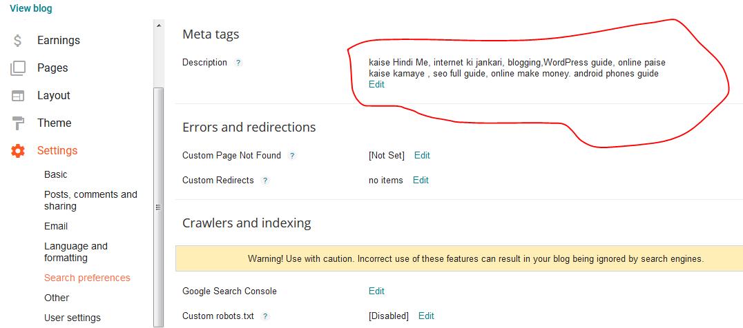 meta tab in blogger