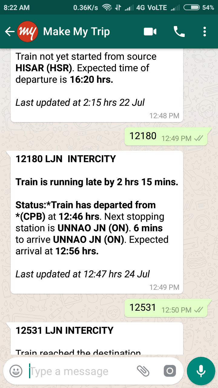railway live status at whatsapp