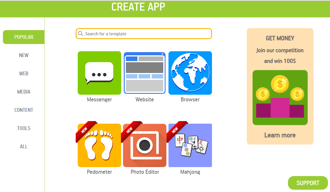 select category in appsgeyser