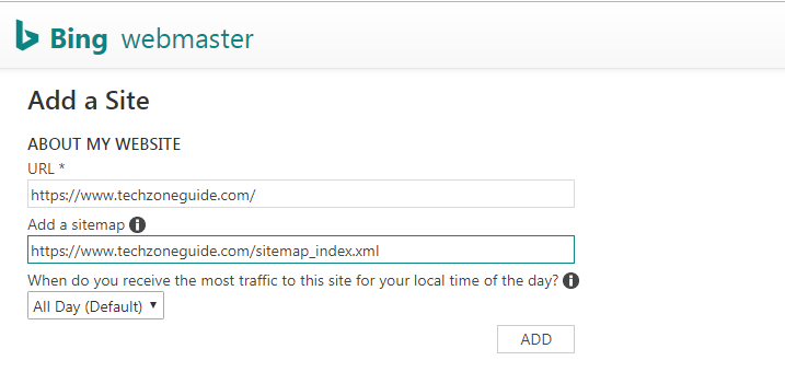 submit sitemap in bing webmaster tool