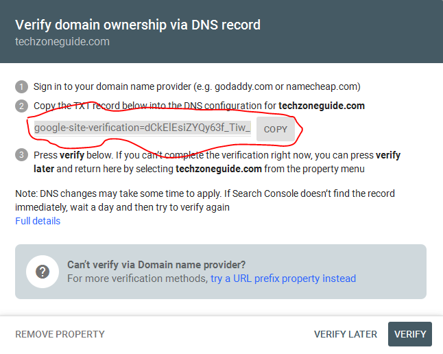 verify domain ownership in google webmaster tool