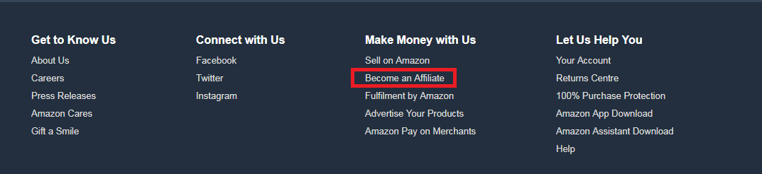 amazon become an affiliate page