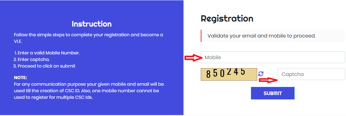 enter mobile no for csc registration